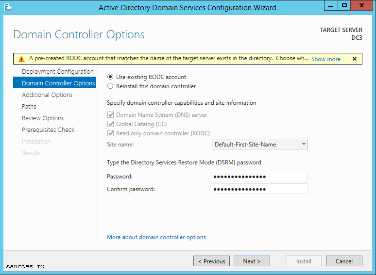 RODC Install_existing_account