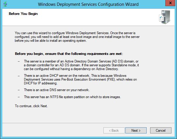 WDS 2012 Configure Step 1