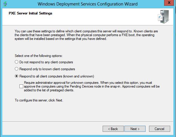 WDS 2012 Configure Step 4