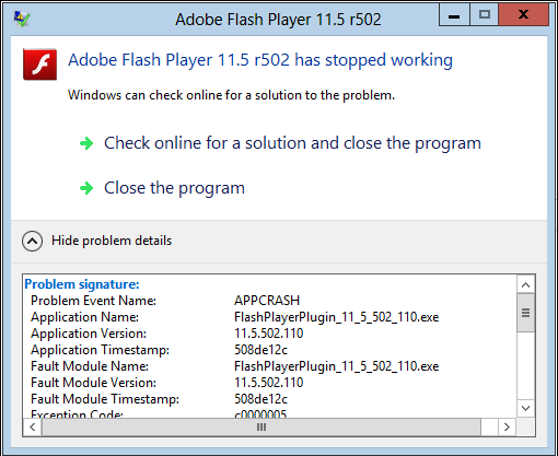 Падение Adobe Flash Player в Mozilla Firefox - Adobe Flash Player Has Stopped Working