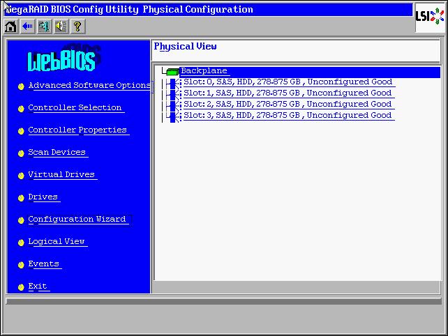 LSI Megaraid Main Screen