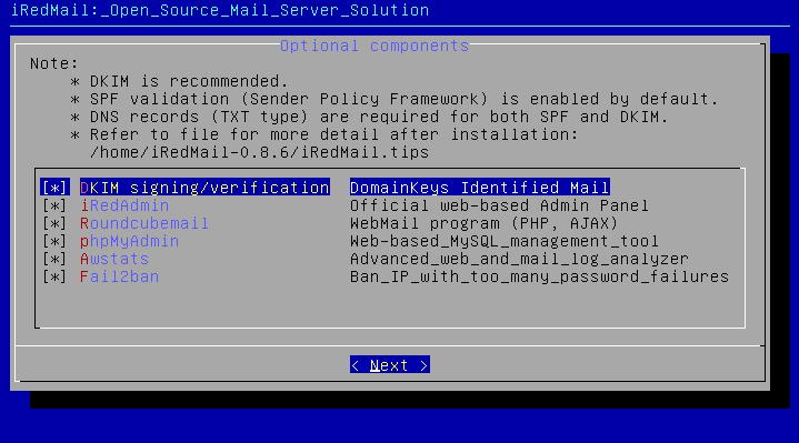 iRedmail Install - MySQL - Выбор опциональных компонентов